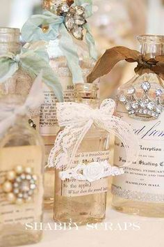 Beautiful gift idea! Decorate bath products with ribbons and jewelry!