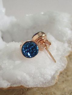 NEW Blue Druzy Rose Gold Studs Titanium Drusy by julianneblumlo