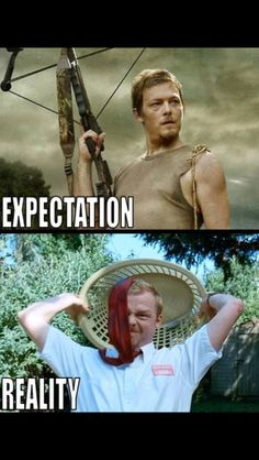Shaun of the Dead vs. Daryl The Walking Dead. sadly this is probably really true lol Walking Dead Memes, The Walking Dead, Expectation Reality, Zombie Movies, Geek Movies, Simon Pegg, The Rocky Horror Picture Show, Stuff And Thangs, Daryl Dixon