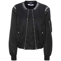 Crystal-embellished bomber jacket (€2.345) via Polyvore featuring outerwear, jackets, bomber jacket, blouson jacket, flight jacket und bomber style jacket
