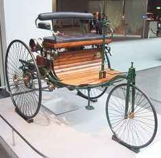 First Benz car. 1886  Bertha Benz drove it 50 miles, for the first ever long distance road trip.  Steampunk Hero!