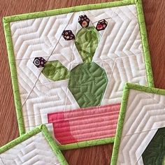 Image of Prickly Cactis Quilt Block Pattern - x Paper Pieced Quilt Patterns, Quilt Block Patterns, Pattern Blocks, Fabric Patterns, Quilt Blocks, Quilting Projects, Sewing Projects, Quilt Batting, Foundation Paper Piecing