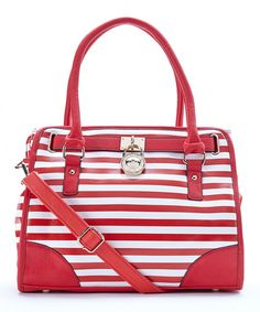 This Red & White Stripe Satchel by MKF Collection is perfectly nautical!