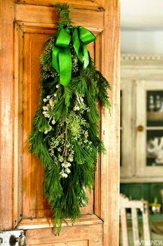 #Christmas decoration ideas ToniKami Ðℯck Ʈհe HÅĿĿs  DIY crafts Door swag rustic