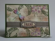 Stampin' Up! Awesomely Artistic, friend card by Lynn Weiss.... I LOVE how she inked the bricks stamp