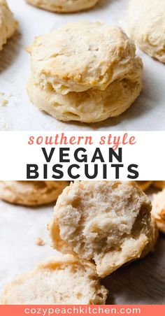 Step by step guide for soft and fluffy Southern style vegan biscuits. Step by step guide for soft and fluffy Southern style vegan biscuits. Vegan Foods, Vegan Snacks, Vegan Dishes, Vegan Desserts, Vegan Meals, Gourmet Recipes, Whole Food Recipes, Vegetarian Recipes, Vegan Baking Recipes