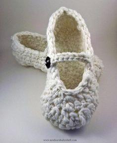 Crochet Baby Booties Mary Jane Slippers - crochet - for women. #slippers #crochet...