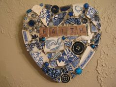 FAITH Mosaic Heart in Blues with Vintage Brooch and White Bird Mosaic Art