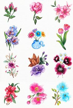 130 Spring and love elements by Elena Neculae on Mini Tattoos, Love Tattoos, Floral Tattoo Design, Tattoo Designs, Watercolor Cards, Watercolor Flowers, Vintage Floral Tattoos, Victorian Flowers, Elements Of Art