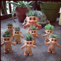 succulent in cute head planters. Too bad I don't still have all my troll dolls Cacti And Succulents, Planting Succulents, Planting Flowers, Succulent Planters, Propagating Succulents, Dream Garden, Garden Art, Cacti Garden, Sempervivum