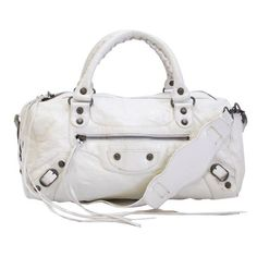 Pre-Owned Authentic Balenciaga Ivory Leather Motorcycle Bag Shoulder... ($675) ❤ liked on Polyvore featuring bags, handbags, tote bags, neutral, genuine leather tote, white leather shoulder bag, zippered tote bag, white tote bag and tote shoulder bag