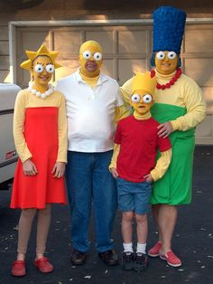 Homemade Halloween costumes bring the famous cartoon family to life. HGTV fan vrrk9 used bold colors, yellow face paint and oversized eyes to create animated ensembles.