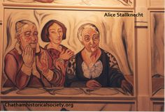 """From the Alice Stallknecht mural """"The Circle Supper"""". Oil painting of three women. Pictured left to right: Lizzie Howes, Josephine Buck, Lizzie Eldredge Ivanoff, Chatham, MA. Alice, Historical Society, Local Artists, Murals, Barn, Museum, Princess Zelda, Oil, Pictures"""