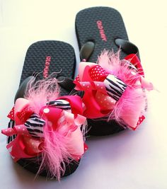 boutique FUNKY fun PINK and ZEBRA bow flip flops on Etsy, $22.99