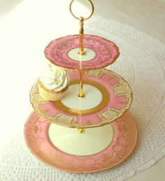 High Tea for Alice 3 Tier Pink & Gold Cupcake by HighTeaForAlice, $185.00