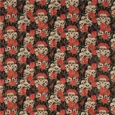 Tela negra de Alexander Henry con rosas rojas y calaveras be - Telas de calaveras - Textiles - tienda kawaii modesS4u