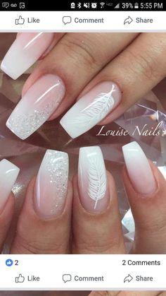Pin by Lisa Firle on Nageldesign - Nail Art - Nagellack - Nail Polish - Nailart - Nails Elegant Nail Designs, Elegant Nails, Nail Art Designs, Feather Nail Designs, Sparkle Nail Designs, Feather Design, Polka Dot Nails, Pink Nails, My Nails