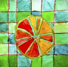 Citrus fruits in complementary colors Will Turner, Color Art Lessons, Fruit Art Kids, 4th Grade Art, Third Grade, Kids Watercolor, Elements And Principles, Complimentary Colors, Color Studies