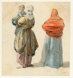 Two women, one carrying a child, one of the sketches made in Edinburgh and the neighbourhood after the rebellion of 1745 Pen and black ink and grey wash, with watercolour, by Paul Sandby