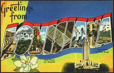 1940s Large Letter Greetings from Louisiana State Vintage Postcard