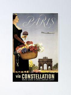 'Paris Via Constellation' Poster von stickart-marek World Photography, Video Photography, Nature 3d, Travel Design, World Leaders, Vintage Travel Posters, Constellations, Paris France, Saving Money