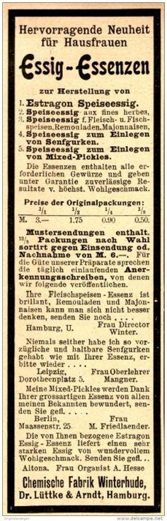 Original-Werbung/ Anzeige 1898 - ESSIG ESSENZEN / CHEMISCHE FABRIK WINTERHUDE…