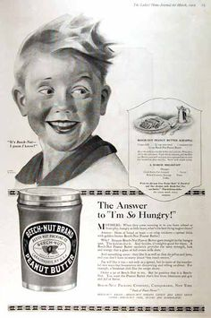 The answer to I'm So Hungry! Includes recipe for Peanut Butter Scrapple. Vintage Advertisements, Vintage Ads, Vintage Prints, Peanut Butter Recipes, Old Magazines, Old Ads, Magazine Ads, Almost Always, Vintage Recipes