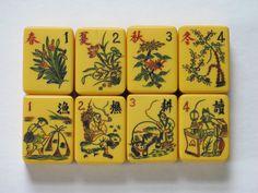 Chinese Bakelite flower tiles -- Mah Jongg by mixx on Etsy