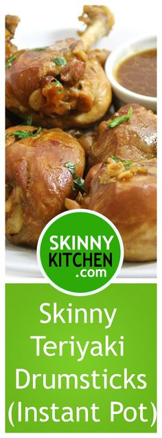 Skinny Teriyaki Drumsticks (Instant Pot or Cooktop) It might be simple, but it's equally delicious. Skinless and amazingly tender! Two drumsticks have only 193 calories, fat & 5 SmartPoints. Instant Pot Pressure Cooker, Pressure Cooker Recipes, Slow Cooker, Healthy Crockpot Recipes, Cooking Recipes, Yummy Recipes, Recipies, Chicken Drumstick Recipes, Chicken Recipes