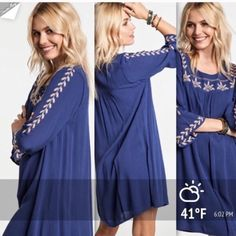 """EMBROIDERED MINI BELL TUNIC DRESS 4th RESTOCK! This dress is very comfortable and a beautiful indigo color. Intricate embroidery on the yoke and sleeves. Made of rayon, polyester and spandex. Equally as cute as a dress or a tunic!  NWOT                                         🔹S: bust 40"""" flairs down to 48""""                                      🔹M: bust 41""""                                                      🔹L: bust 43"""" tla2 Dresses"""