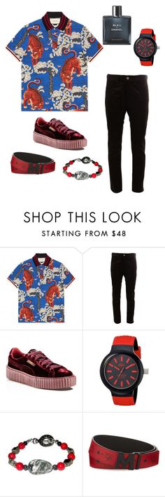 """Untitled #107"" by andreia-lin on Polyvore featuring Gucci, Junya Watanabe Comme des Garçons, Puma, Lacoste, MCM, Chanel, men's fashion and menswear"