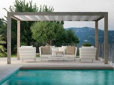 Wooden pergola with folding roof - Upper Wood by Talenti