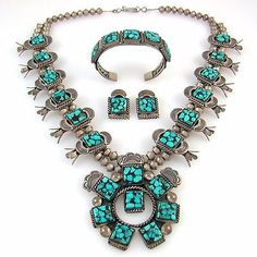 Navajo-Sterling-Silver-Turquoise-Squash-Blossom-Necklace-Bracelet-Earrings-RS