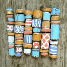 driftwood beads painted 30 inches of beads by NatureScavenger