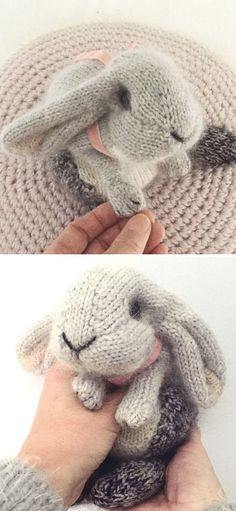 Stunning Knitted Animals - crochet & knitting - Stunning Knitted Animals Holand Lop Rabbit free knitting pattern This is a beautiful classic grey rabbit. It's the cutest one of all! It's simple and the only decoration is a pink bow around its neck. Animal Knitting Patterns, Sweater Knitting Patterns, Knitting Socks, Crochet Patterns, Knitted Toys Patterns, Crochet Rabbit Free Pattern, Free Baby Knitting Patterns, All Free Knitting, Sweaters Knitted
