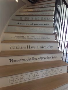 This beautiful spiral staircase spans all four floors of this amazing home.  Intricate iron railings add an exquisite look to the already amazing staircase.  The top set of stairs feature favorite quotes.