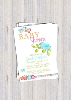 Bird and Butterfly Baby Shower Invitation  by 3PeasPrints on Etsy, $18.00