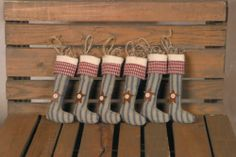Country Primitive Hanging Stocking Ornies Set of 6