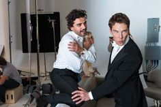 Oscar Isaac and Benedict Cumberbatch, on set of Vanity Fair's 2015 Hollywood Issue.