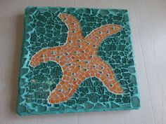 Starfish Mosaic Wall Hanging Beach Decor Beach by cactuscountry