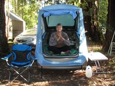 Habitents Prius tent allows you to camp or sleep in your hatchback car.  Camping or sleeping in your Prius is a comfortable and economical way to see the country