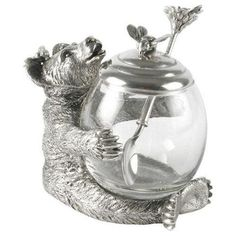 Bear Glass and Pewter Honey Jar