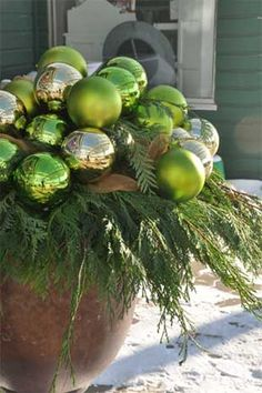 Holiday pots - incorporate ornaments into non-Christmas tree plants