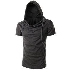 Vogue Hooded Solid Color Short Sleeves Men's Slimming T-Shirt