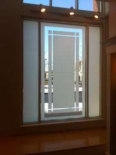 Looking for an etched glass appearance? Our Fasara Decorative Window Films enhance your decor and improve privacy. Call for more privacy at Window Glass Design, Frosted Glass Design, Frosted Glass Window, Glass For Windows, Glass Film Design, Etched Glass Windows, Main Door Design, Front Door Design, Window Films