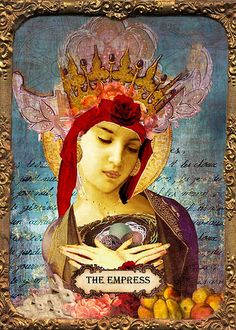 "The Empress  Copyright: 2009 Andrea Matus  This Mixed Media Collage was part of a ""Digital Smackdown"" challenge put on by Angi Sullins that I took part in. An original collage is scanned and then digitally manipulated. See the blog for the before and after pics.    paradoxicalgypsy.blogspot.com"