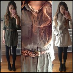 Ideas for wearing gold chain: military green and leapord