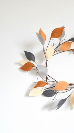 How to make your own twig wreath with felt leaves