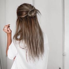 Highlights balayage ombre gray topknot love