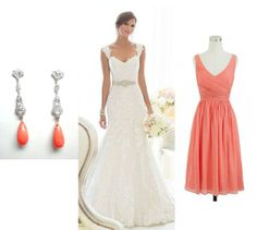 Coordinate elegantly with coral! These pieces are great for other occasions too.   115-094,  101-6516. (subject to prior sale) -- Lilliane's Jewelry -- 4101 W. 83rd St. Prairie Village, KS 66208 -- 913-383-3376 – http://lillianesjewelry.com/ -- (Credits: Essense of Australia Style D1617; JCREW Heidi bridesmaid dress via Recycle Your Wedding).